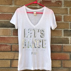 "NEW!! PINK White T-Shirt ""LET'S DANCE"""